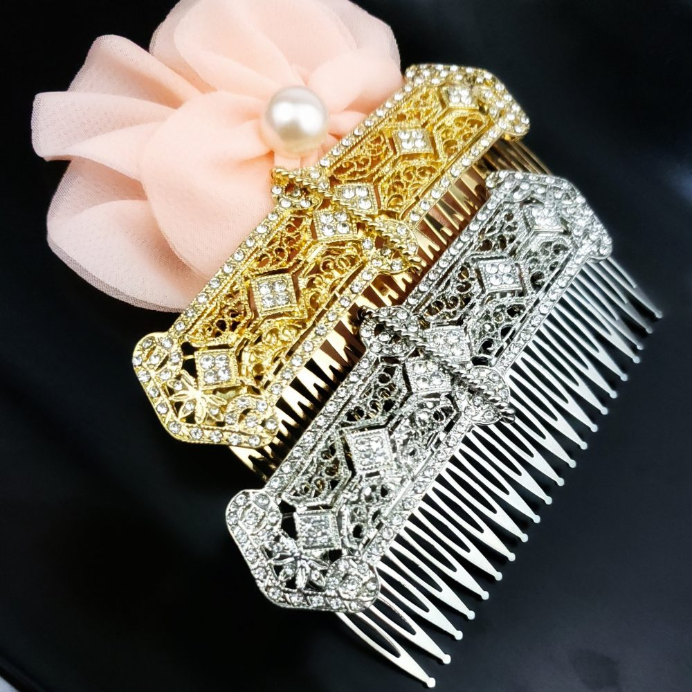 Filigree Wedding Hair Comb, Vintage Inspired Crystal Art Deco 1920's Accessories, Silver Prom Homecoming