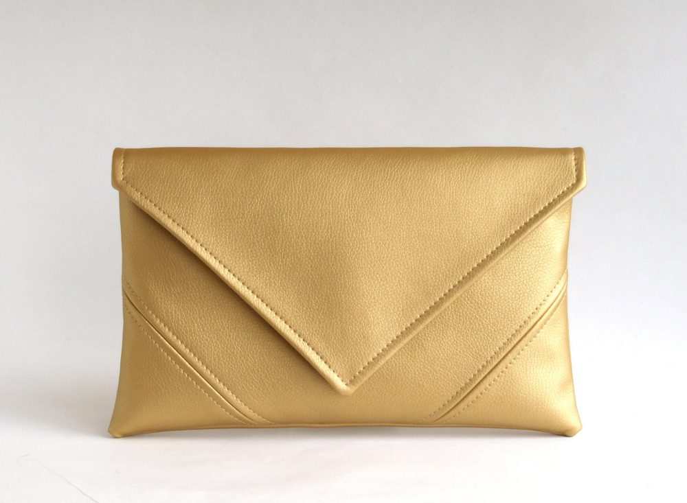 Crossbody Purse, Gold Clutch Leather Bag, Bridal Bridesmaid Handbag, Vegan Wallet