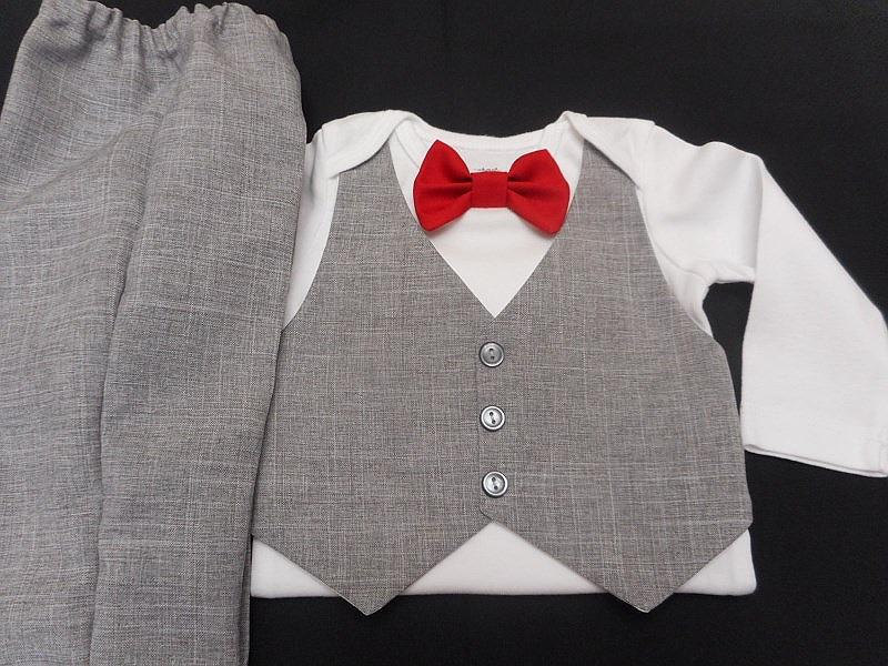 Baby Boy Wedding Outfit Gray Suit Lt.grayvest&pants Anycolor Bowtie Carter's Bodysuit Add A Hat Newborn-24 Mo. Ring Bearer Dress Up Holidays