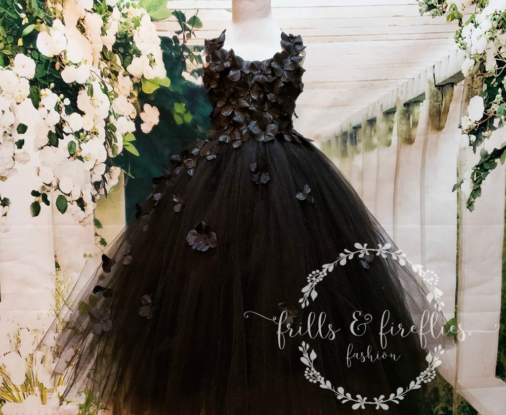 Black Flower Girl Tutu Dress, Prom & Formal Wear, Party Gown, Pageant Outfit, Hydrangea Flowers, Simple Wedding, Baby, Child To Adult Sizes