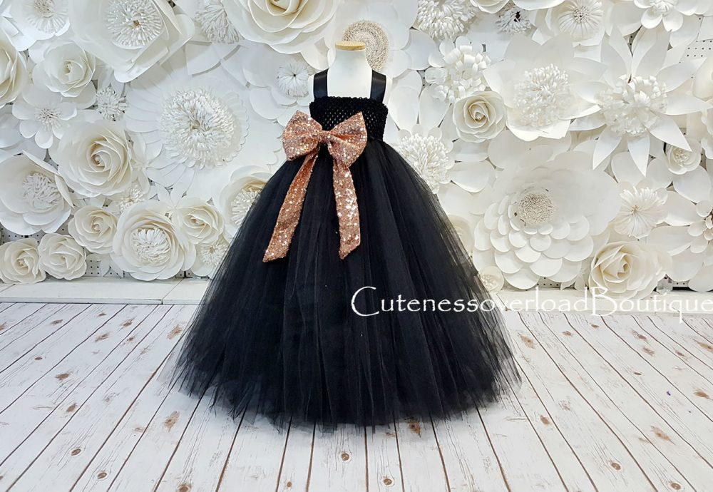 Black Fancy Tutu Dress-Black Girls Flower Girl Wedding Baby Dress