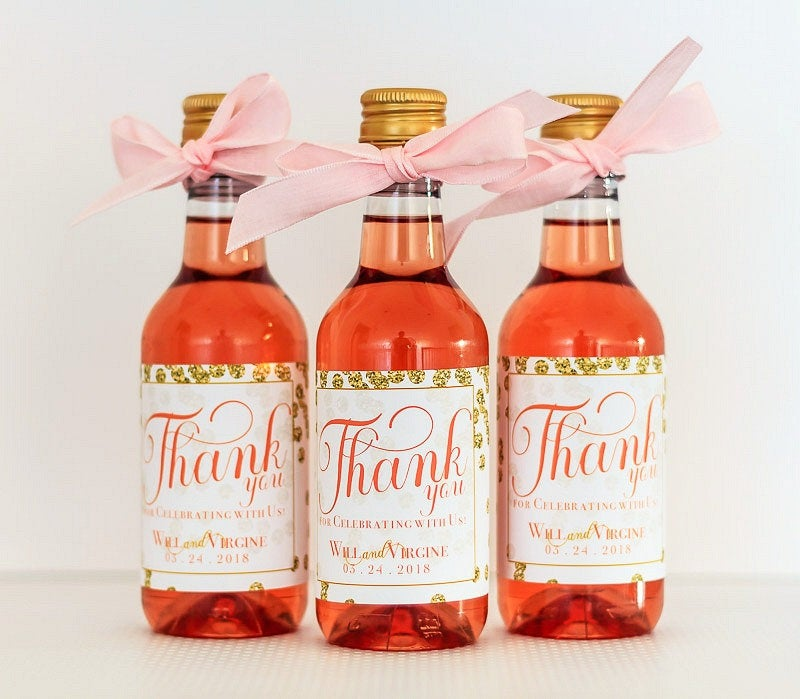 Wedding Mini Wine Bottle Labels - Gold Champagne Favors For Guests Personalized Guest Gifts