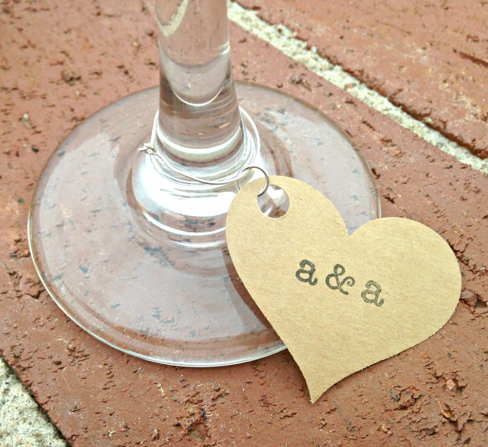 Wedding Wine Tags, Paper Charms, Glass Markers, Custom Ring