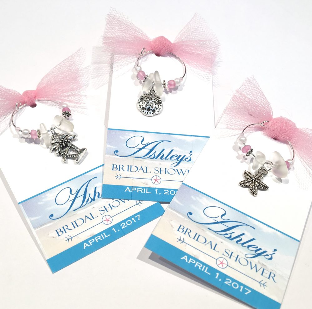 10Pc Beach Theme Wine Charm Favors, Starfish Personalized Favor Tags, Bridal Shower Favors Wedding, Custom Tags