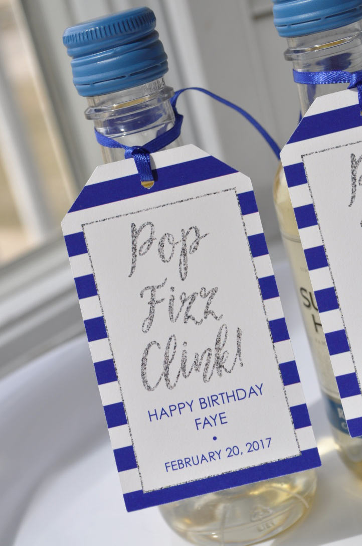 Mini Wine Bottle Favor Tags, Birthdays, Bridal Showers, Weddings, Champagne Tags - Personalized Favors Silver Navy Blue Set Of 12