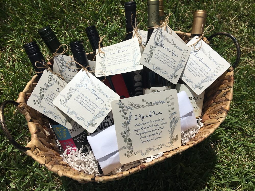 Wedding Wine Poem Tags/Greenery Bridal Shower Gift A Year Of Firsts
