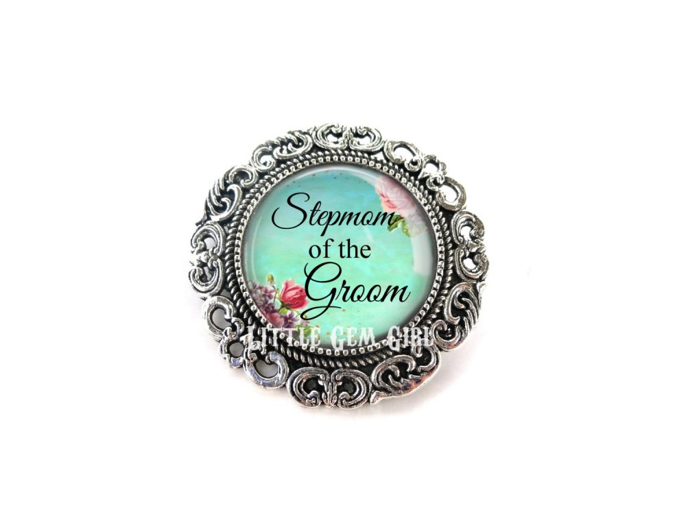 Stepmom Of The Groom Wedding Brooch - Silver Boutonniere For Step Mother Pin 14 Styles Available