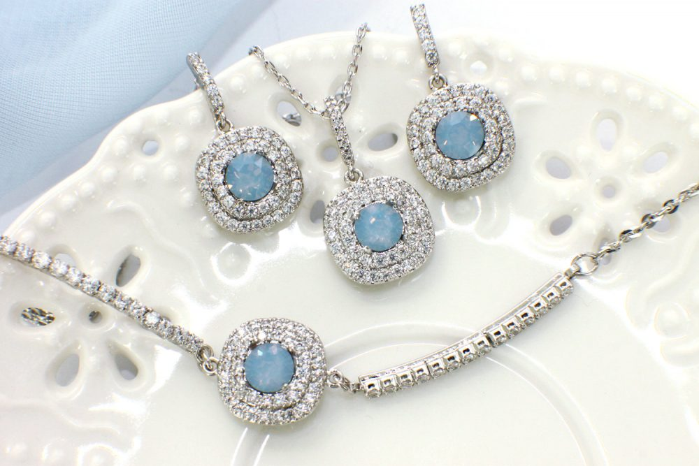 Something Blue, Bride Jewelry Set, Gift For Bridesmaids, Mother Of The Groom, Wedding Necklace Earrings Bracelet Personalized