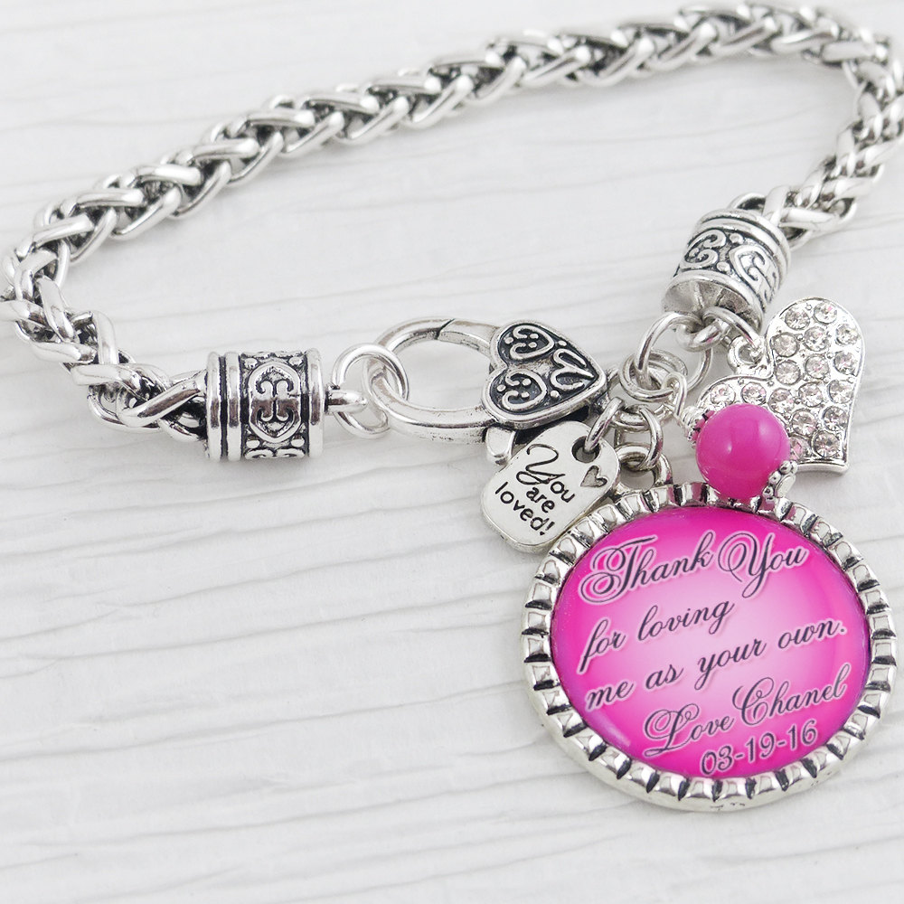 Step Mother Of The Bride Gift - Gift From Daughter - Or Stepmom Groom, Wedding Bracelet-Personalized Bracelet-Wedding Jewelry