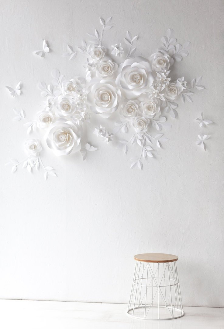 White Wedding Paper Flowers - Flowers- Wall Decor