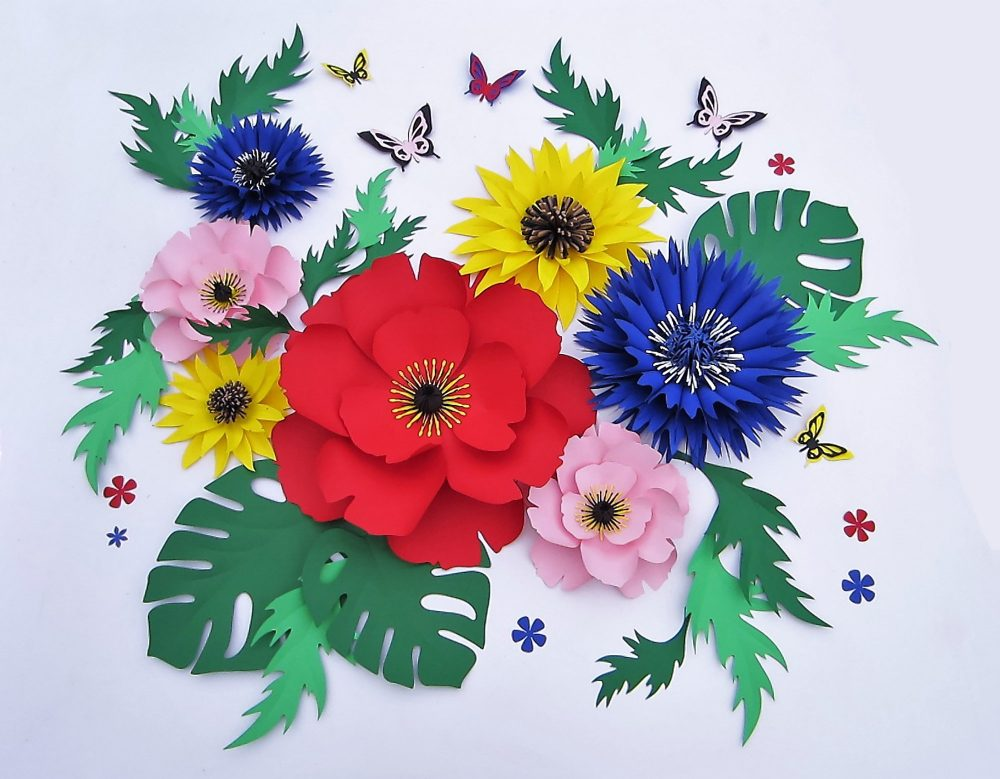 Large Paper Flowers Backdrop For Wildflower Wedding Or Party