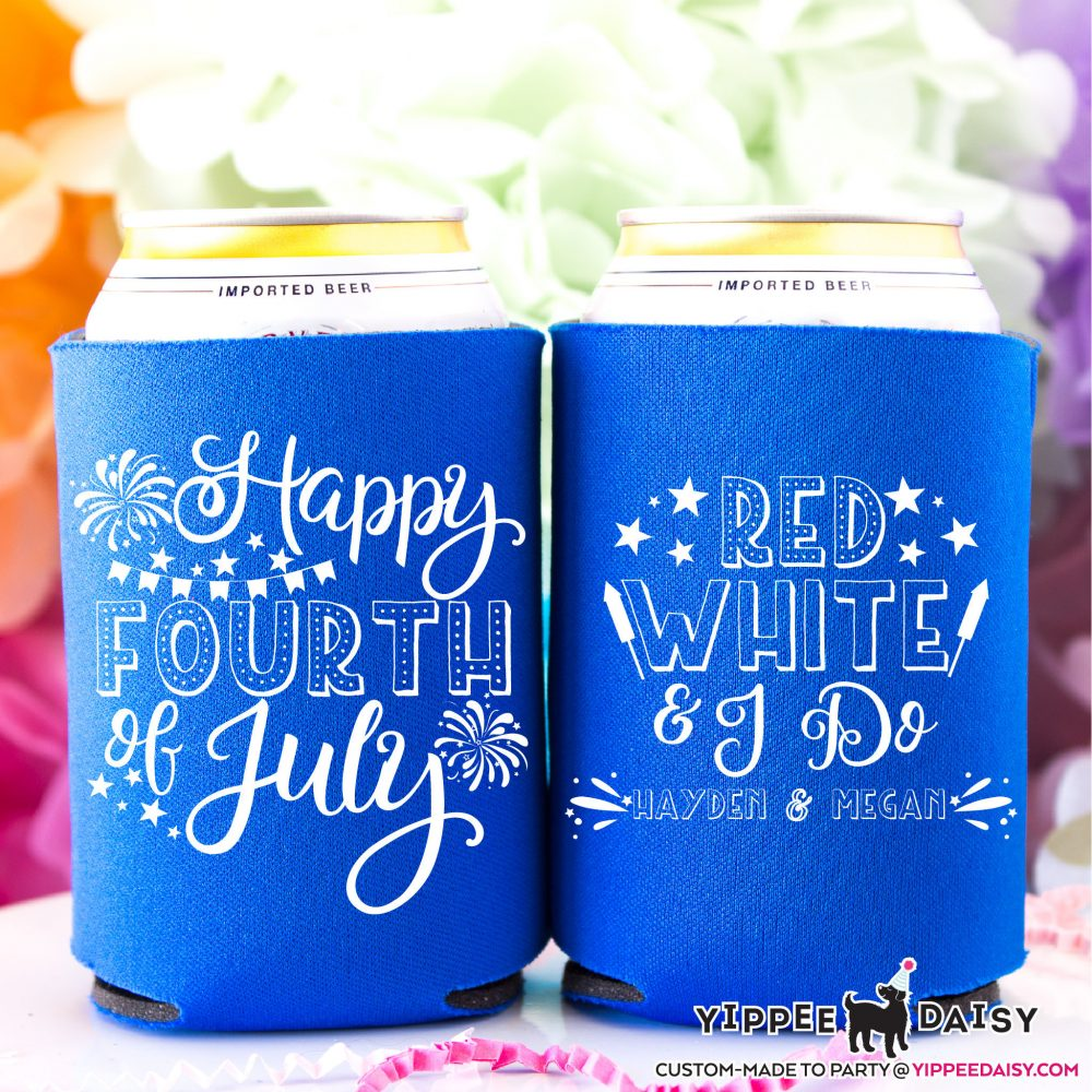 4Th Of July Wedding Can Cooler, Happy Fourth July, Red White & I Do, Party Favors, Wedding, Patriotic Hugger