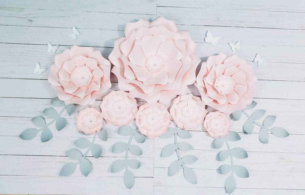 Large Light Pink Paper Flowers Wall Decor. Nursery For Wall. Baby Shower Large Girls Room Decor Flower