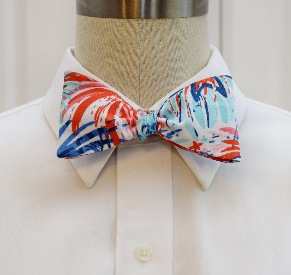 Men's Bow Tie, Lilly Feeling Sparks Print, Fireworks, Reds/Pinks/Blues, July 4Th, Independence Day, Wedding, Patriotic, Celebration, Party