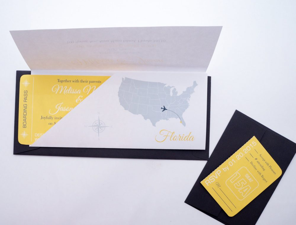 Boarding Pass Wedding Invitation in Sleeve Sample
