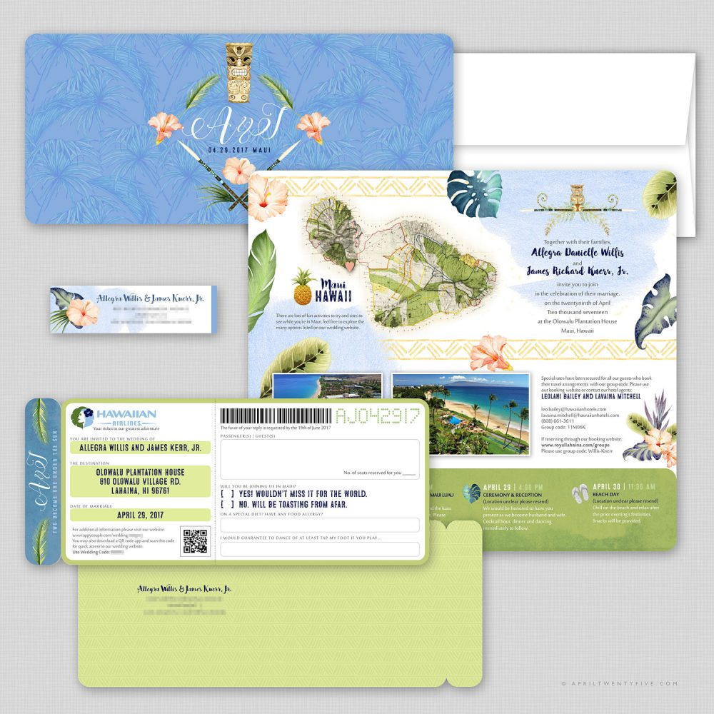 Boarding Pass, Wedding Invitation Suite, Airline Ticket, Plane Ticket, Destination Wedding, Oahu, Hawaii, Watercolor, Travel Inspired