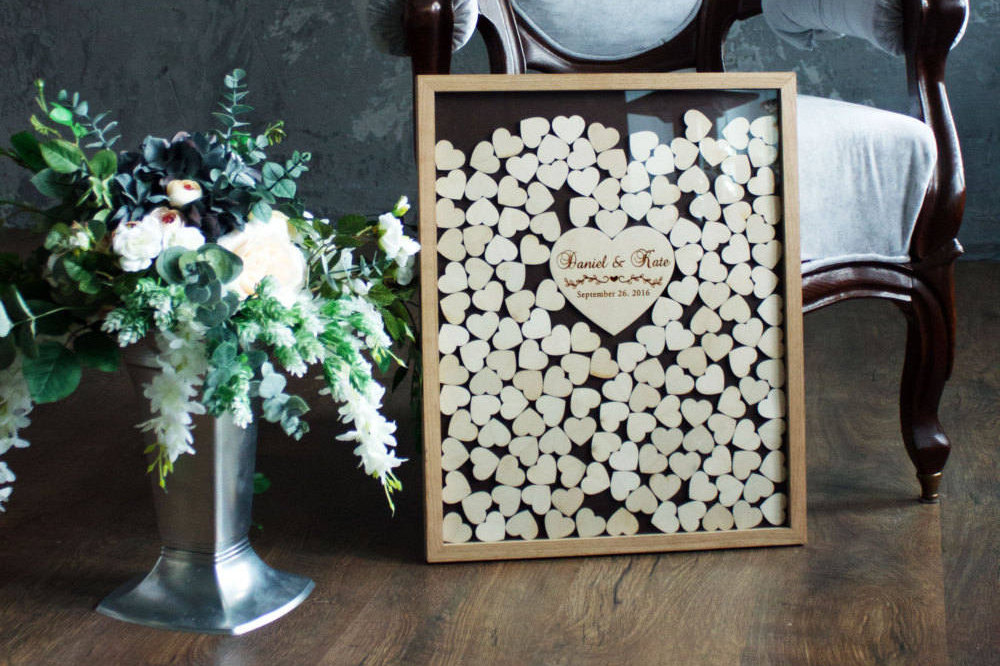 3D Wedding Guest Book Alternative - Rustic Guest Book Wooden Sign Unique Wood Guestbook