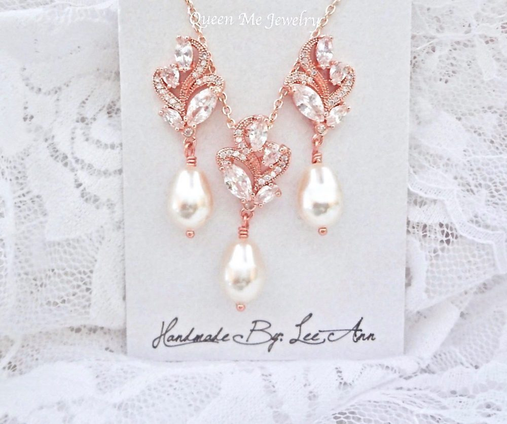Rose Gold Pearl Jewelry Set For A Bride, Earrings & Necklace, Bridesmaids Mother Of The Bride Wedding Gift Her. Lilly