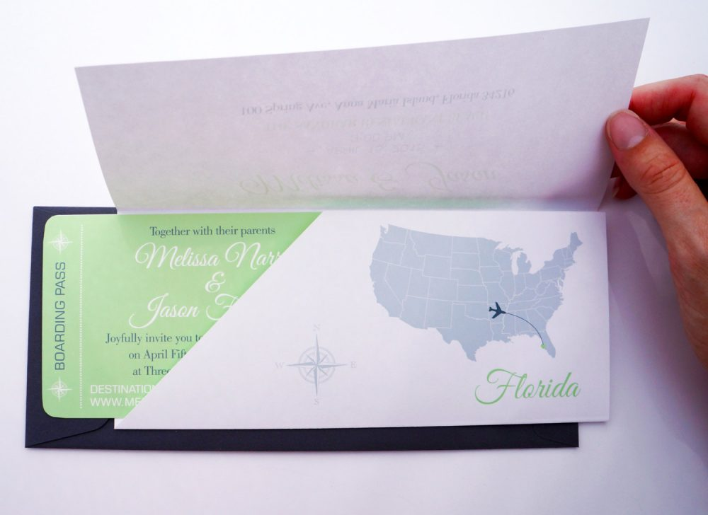 Boarding Pass Wedding Invitation in Sleeve Destination