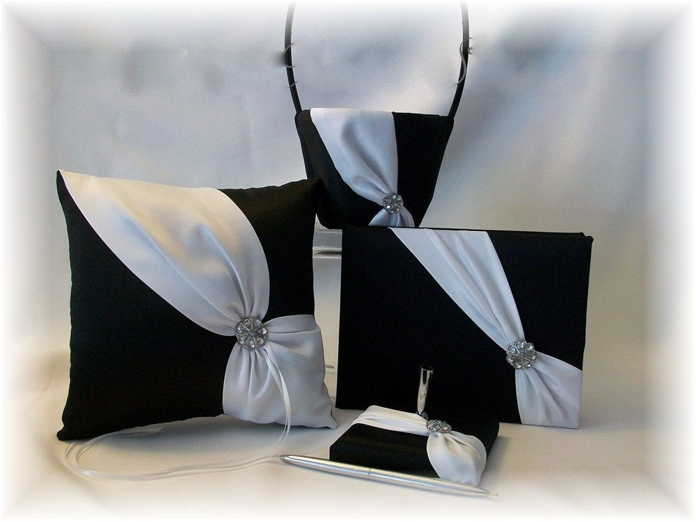 Black & White Wedding Flower Girl Basket, Ring Pillow, Guest Book, Pen - Diagonal