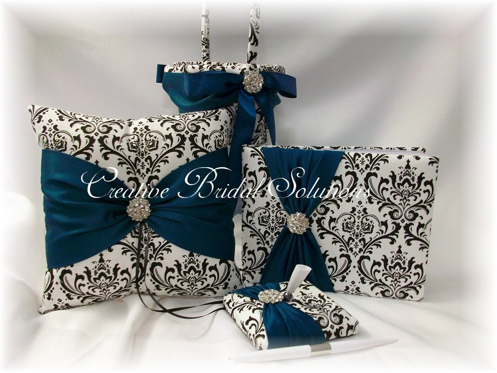 Black & White Madison Damask With Teal Wedding Ring Pillow, Flower Girl Basket, Guest Book Pen