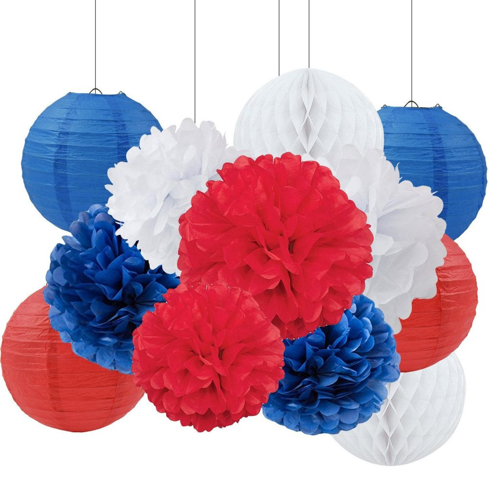 Set Of 12 Royal Blue Red White Tissue Pom Poms Paper Lantern Baby Shower Birthday Wedding Patriotic 4Th July Party Decoration