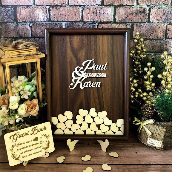 Custom Wedding Guest Book Alternative, Wedding Guestbook, Guest Hearts, Guest Wood, Shadow Box Frame, Guest Sign, Rustic