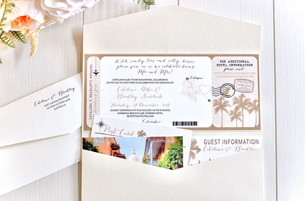 Colombia Boarding Pass Wedding Invitation Design Fee. Destination Sets. Cartagena South America