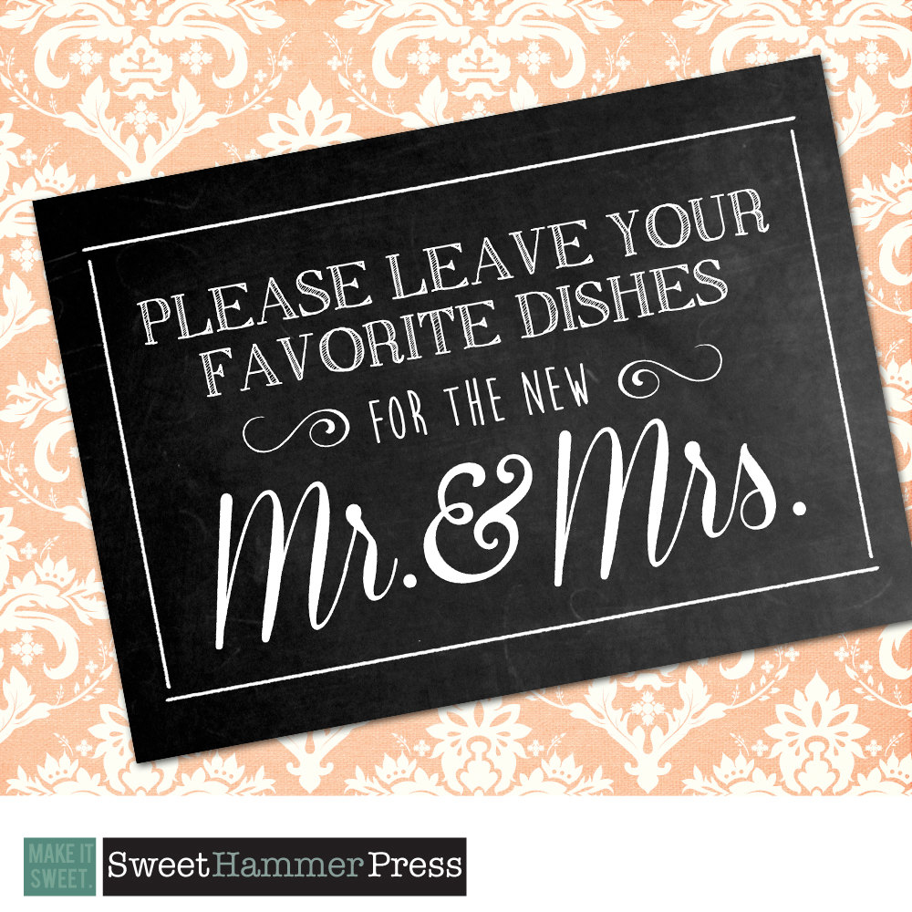 Leave Your Dishes For The Mr & Mrs Custom Printed Wedding Chalkboard Sign. Poster Leaving Recipe Cards Couple. 5x7 Decor