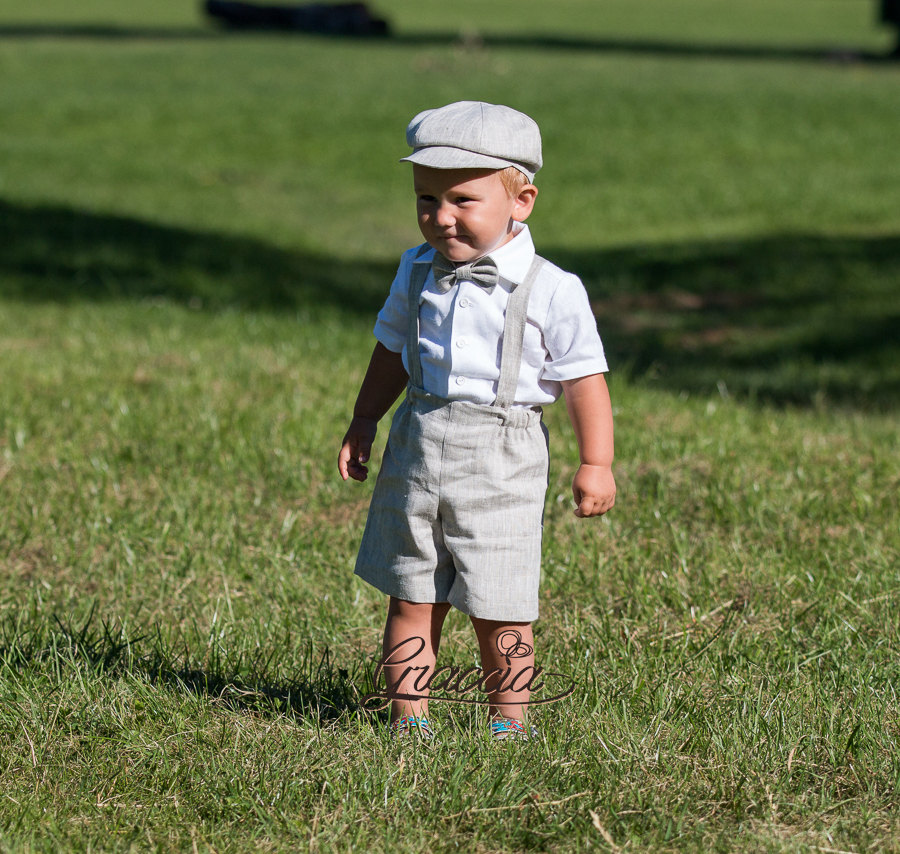 Ring Bearer Newsboy Outfit Baby Boy Baptism Outfits Boy Linen Suit Shorts Suspenders Newsboy Hat Wedding Formal Christening