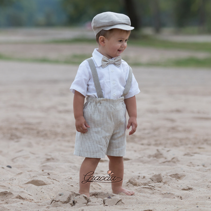 Ring Bearer Newsboy Outfit Baby Boy Natural Linen Suit Striped Shorts Suspenders Hat Rustic Wedding For Baby
