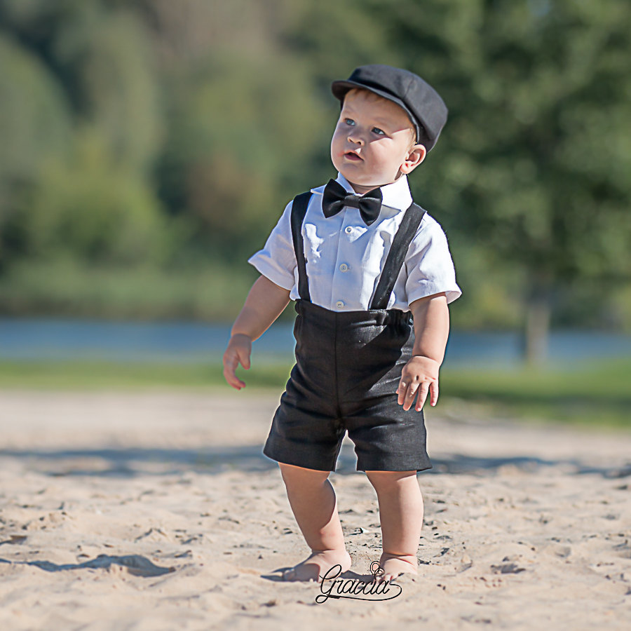Ring Bearer Newsboy Outfit Baby Boy Linen Suit Wedding Party Shorts Suspenders Newsboy Hat Boy Black First Birthday