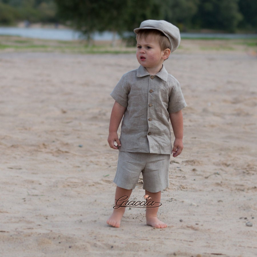 Natural Linen Newsboy Hat Shirt Shorts Baby Boy Rustic Suit Ring Bearer Newsboy Outfit Rustic