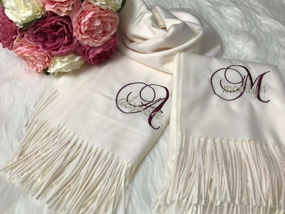 Bridesmaid Scarf, Personalized Shawls, Set Of 2, 3, 4, 5, 6, 7, 8, 9, 10+, Silky Cashmere Scarf, Bridal Party Wedding Large Scarfs