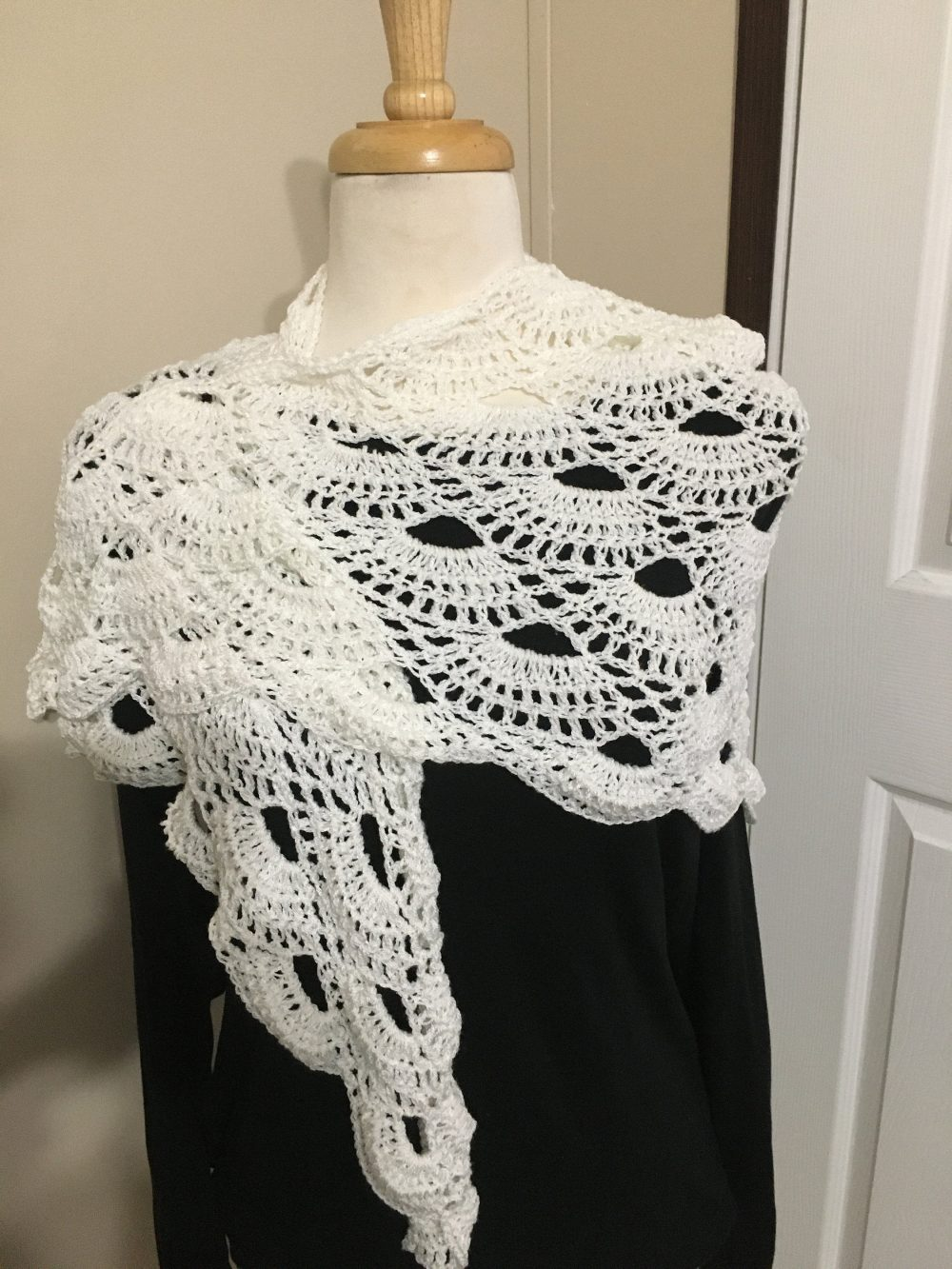 Hand Crochet Shawl, Wrap, Scarf Wedding Bridesmaid Summer Cover-Up Virus Shawl Pattern Gifts