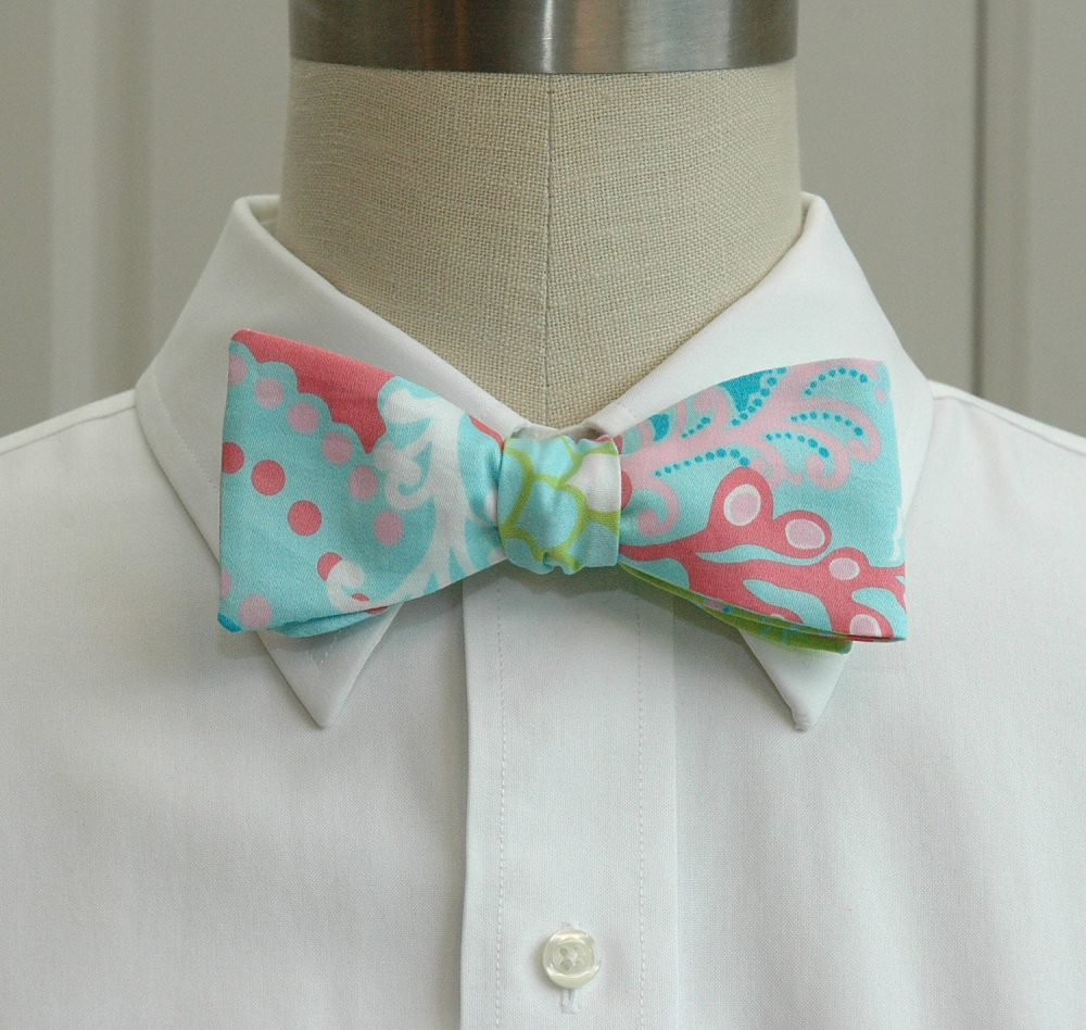 Men's Bow Tie, Check in Surf Blue Lilly Print Bow Tie, Aqua/Rose/Lime Wedding Groom Groomsmen Gift, Prom Tie