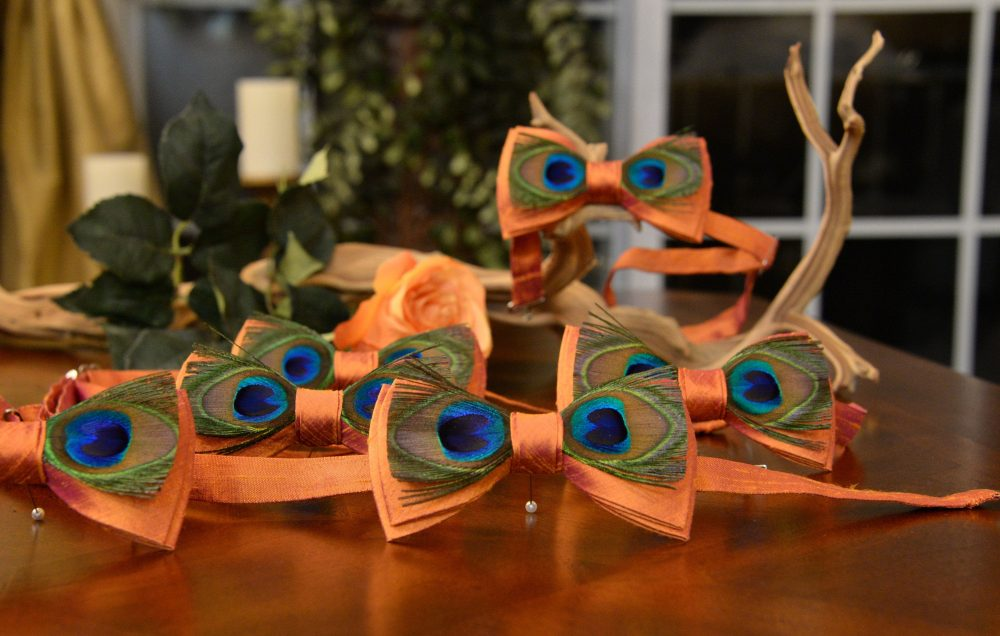 Wedding Set Of Bowties Set For Groom Groomsmen Mens Orange Feathered Bow Ties Kids Bowtie Peacock Feather Tie Feathered