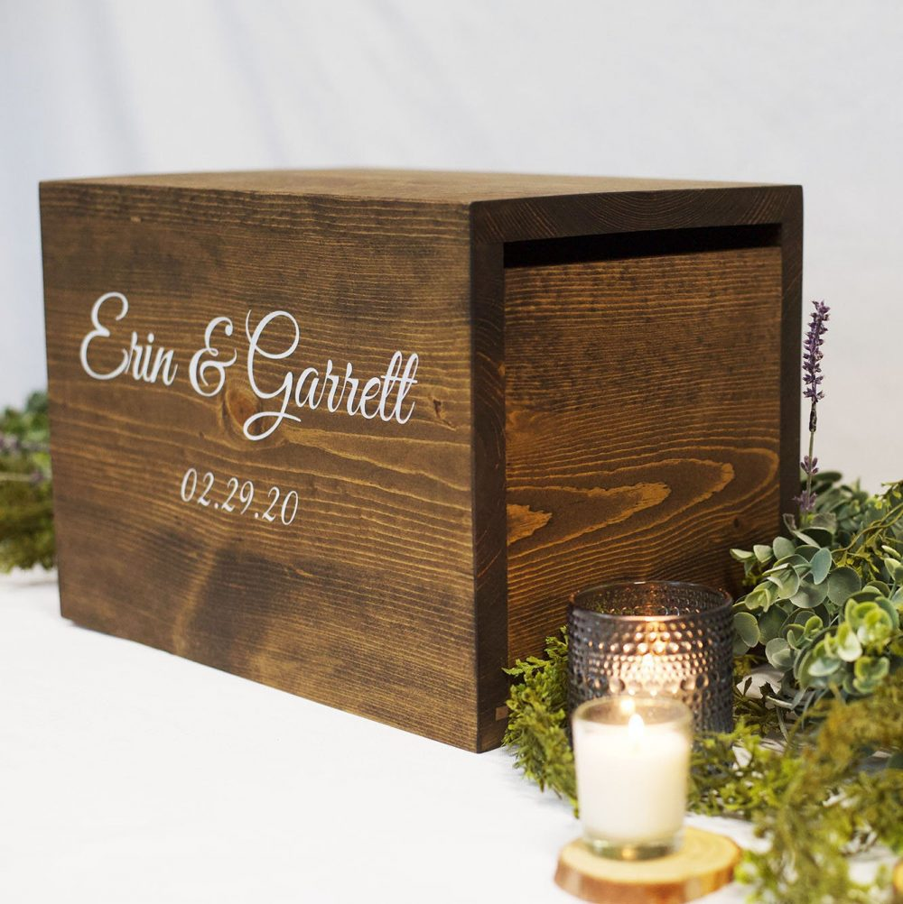 Card Box With Lock, Wedding Box, Locked Rustic Wedding Card Box, Holder, Box Slot, Holder