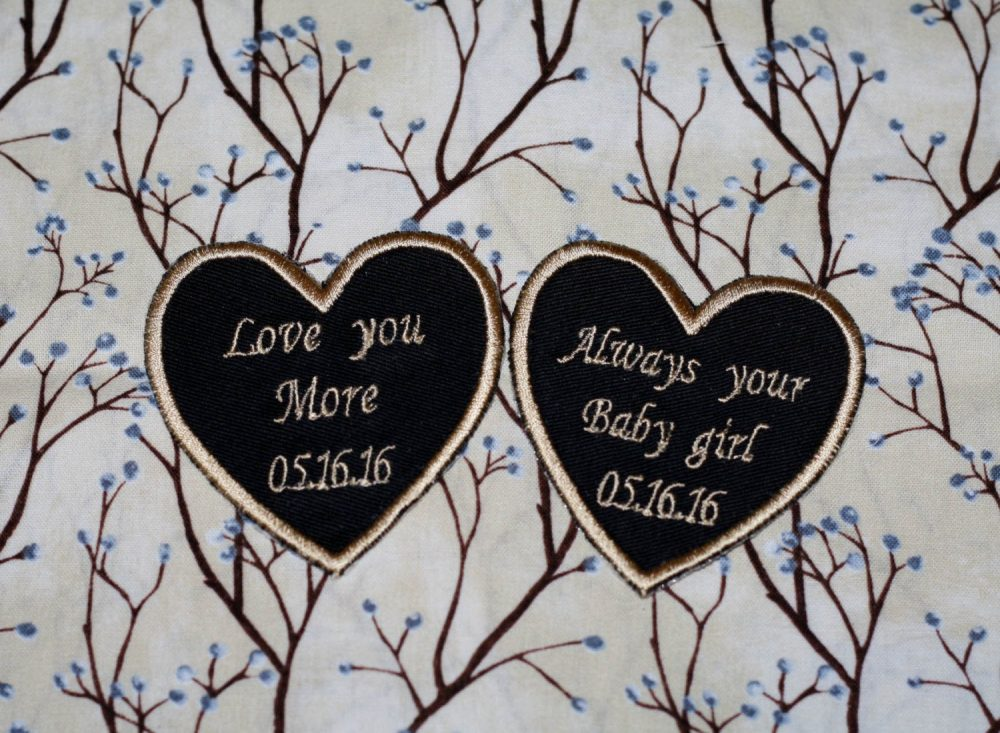 Wedding Tie Patch For Father Of The Bride, Groom & Iron On As Wedding Gift, Set Two Heart Patches