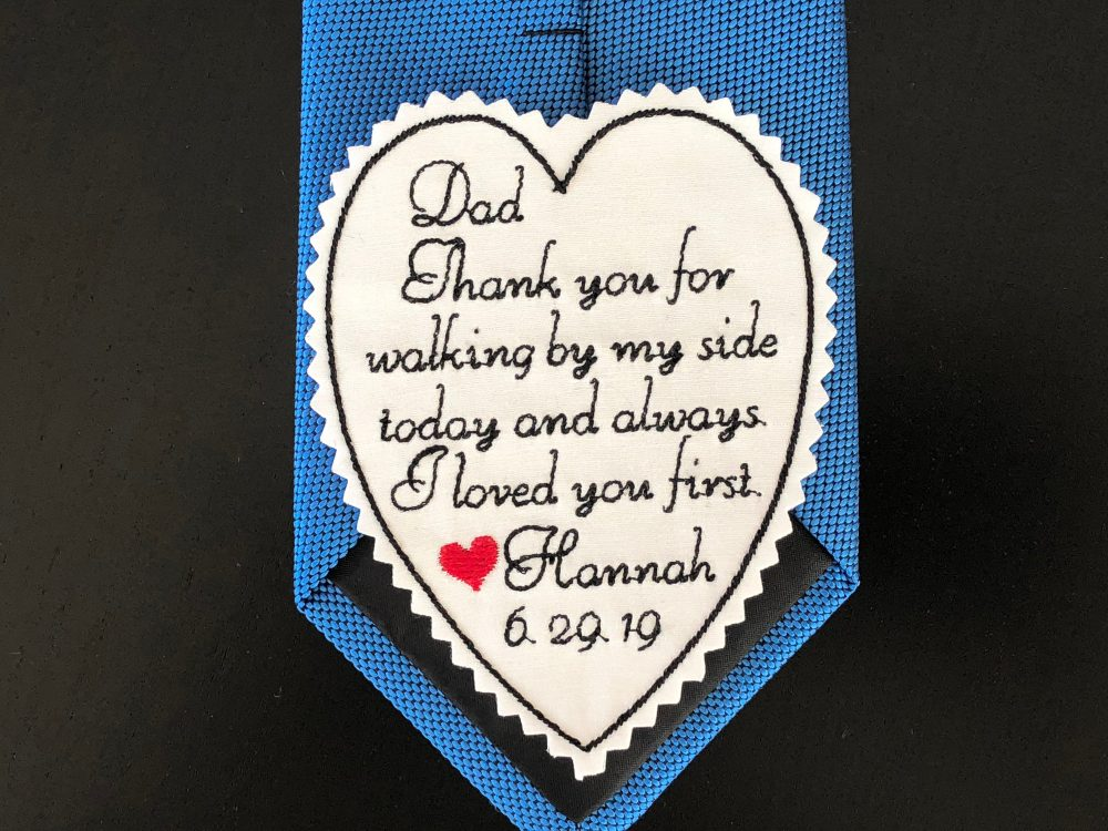 Wedding Tie Patch Personalised For Father Of Bride, Heart-Shaped Patch, I Loved You First, Custom Embroidered Sew Or Iron On