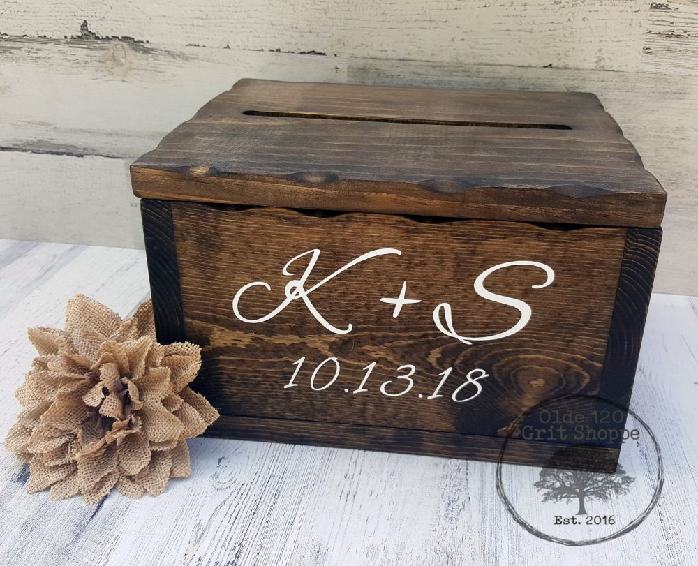 Rustic Wood Wedding Card Box Holder | Box With Lid & Card Slot Advice Well Wishes For Cards Keepsake Wedding
