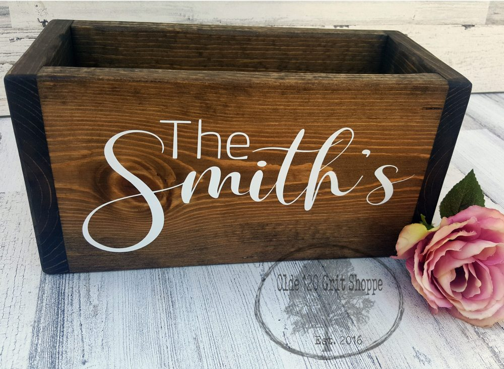 Wedding Card Box | Holder Advice Box Wood Rustic Wedding Card Last Name Personalized
