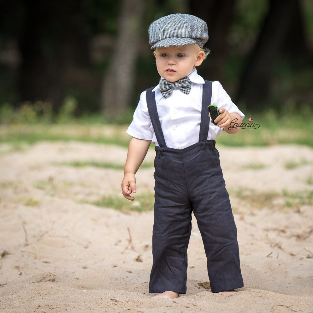 Wedding Suit For Baby Boy Ring Bearer Newsboy Outfit Baby Linen Pants Suspenders Checkered Hat Coal Gray