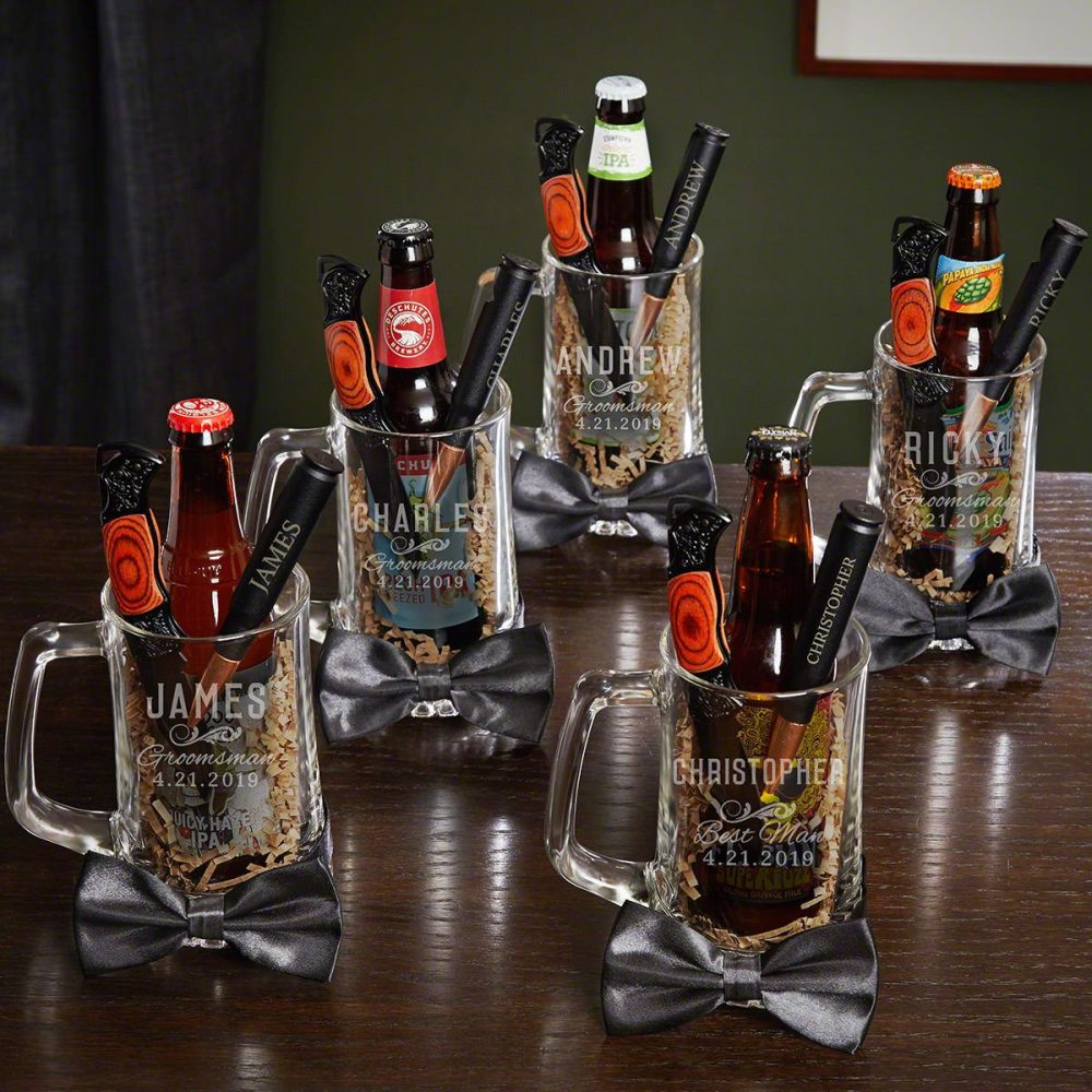 Classic Groomsman Personalized Beer Mugs & Bottle Openers, Set Of 5 - Perfect For Lovers, Groomsmen Gift Idea, Wedding Party Ideas
