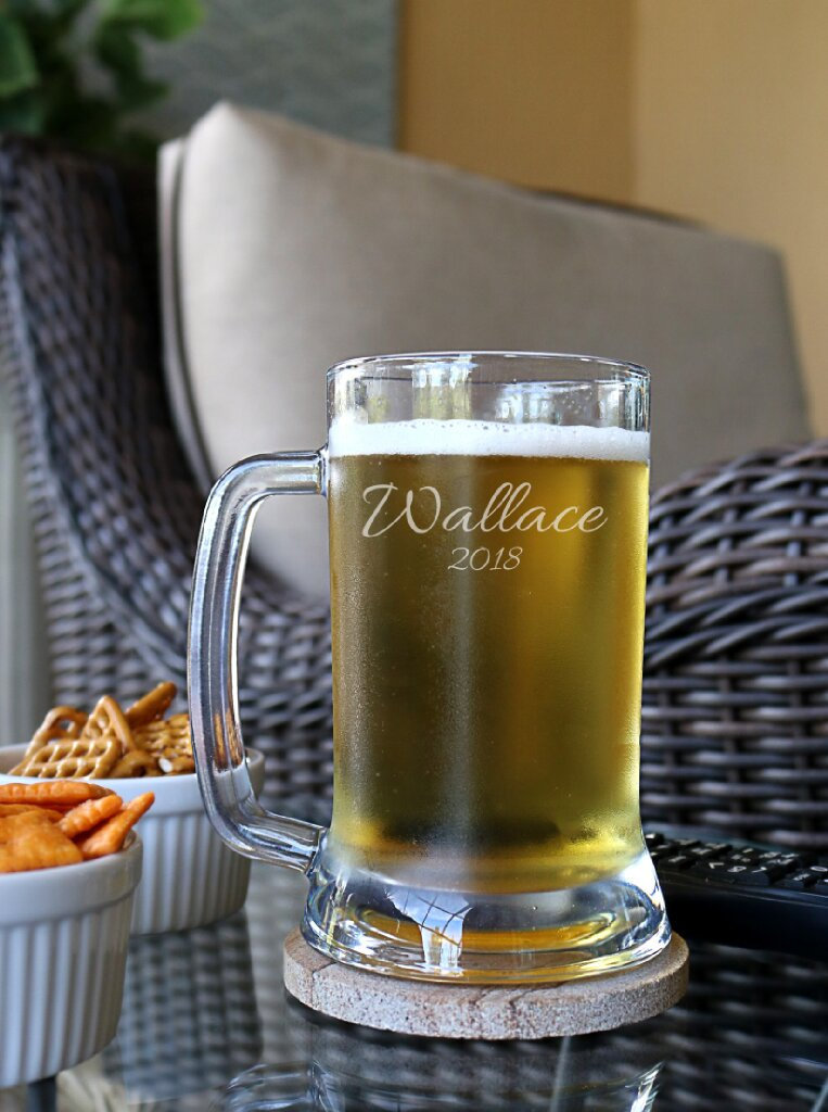 Personalized Beer Mug, Custom Couple Wedding Gifts For Couple, Mugs, Engraved Glass, Decor - C