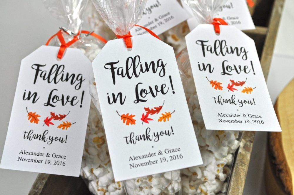 Bridal Shower Favor Tags, Wedding Favors, Falling in Love Thank You Party Personalized Favors - Set Of 12