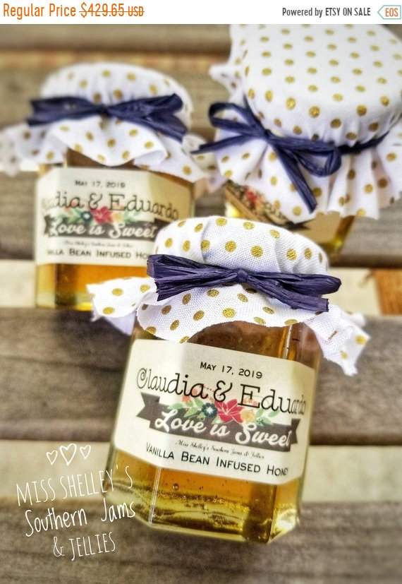 20% Off Sale 125 | 2Oz Rustic Honey Wedding Favors, Fall Burlap Edible Bridal Shower Favors