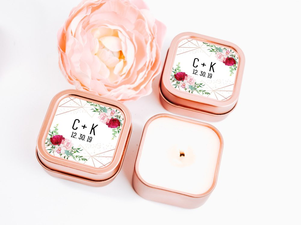 Rose Gold Wedding Favors 12Ct Custom Candle Personalized Bulk Square
