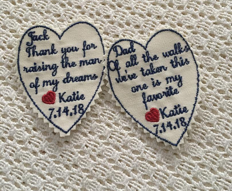 Wedding Tie Patch - Father Of The Bride Tie Patch, Groom Gift, Wedding Keepsake Patches, Memory