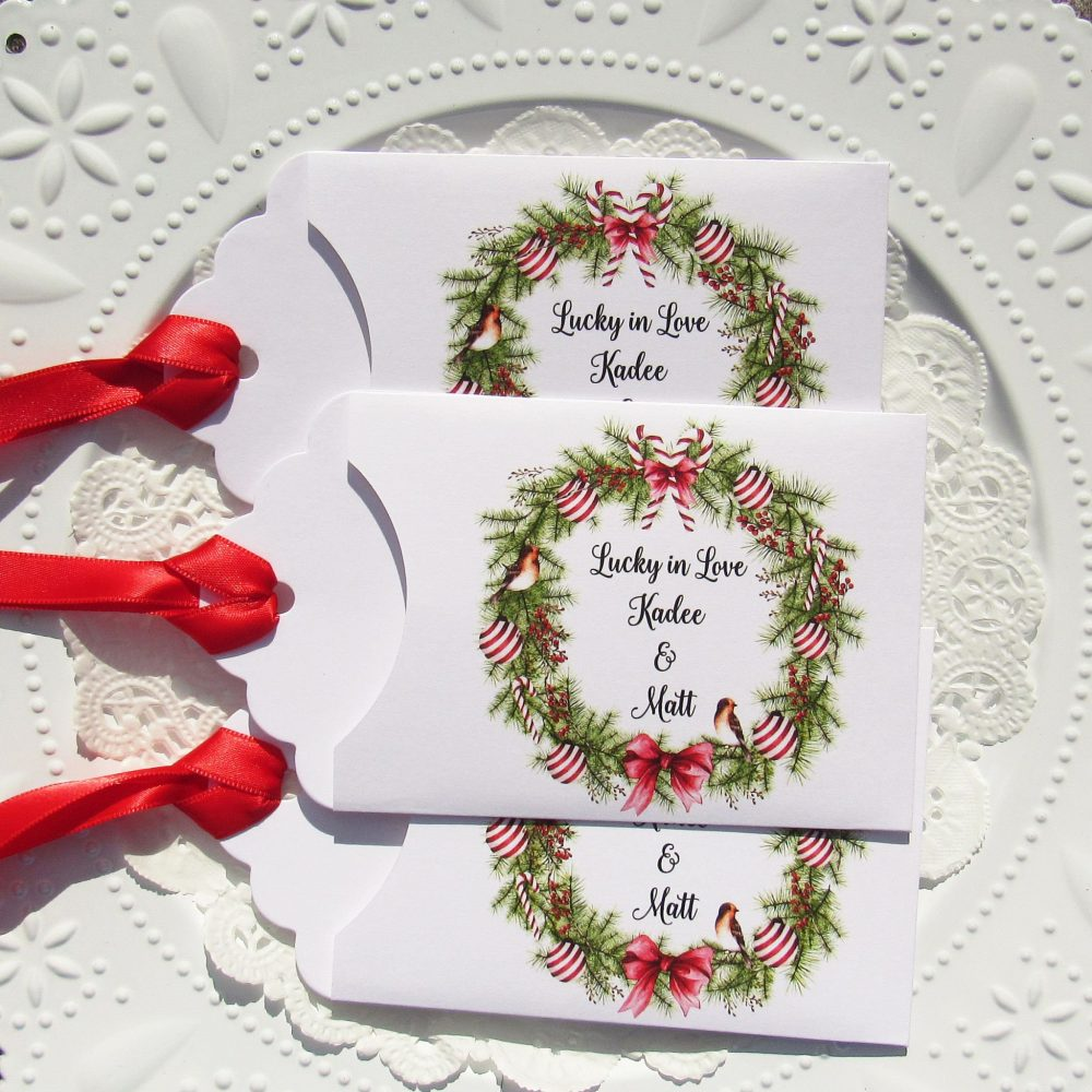 Christmas Wedding Favors, Winter Personalized Holiday Lotto Favors